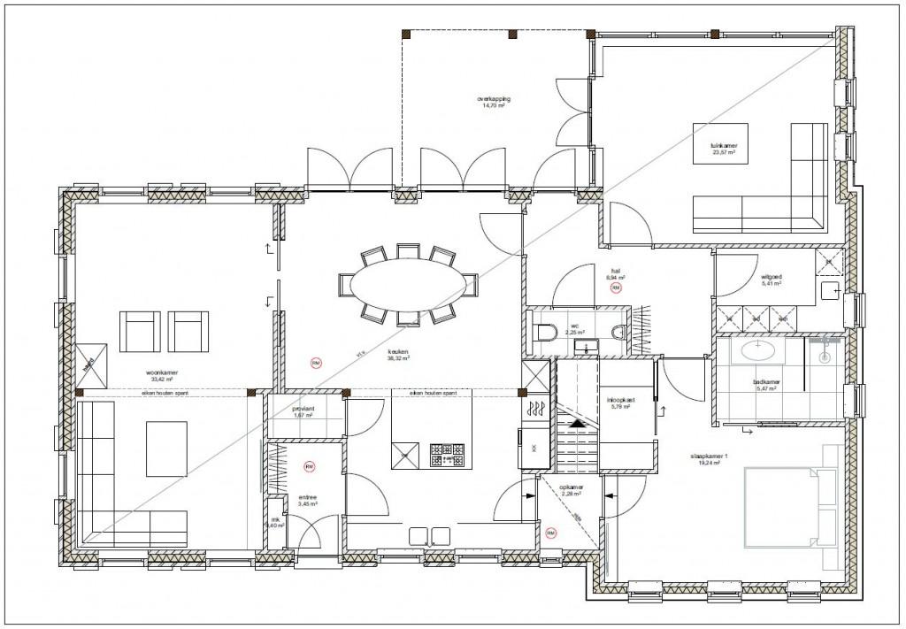 Ontwerp boerderij someren goedgekeurd bouwkundig for Plattegrond woning