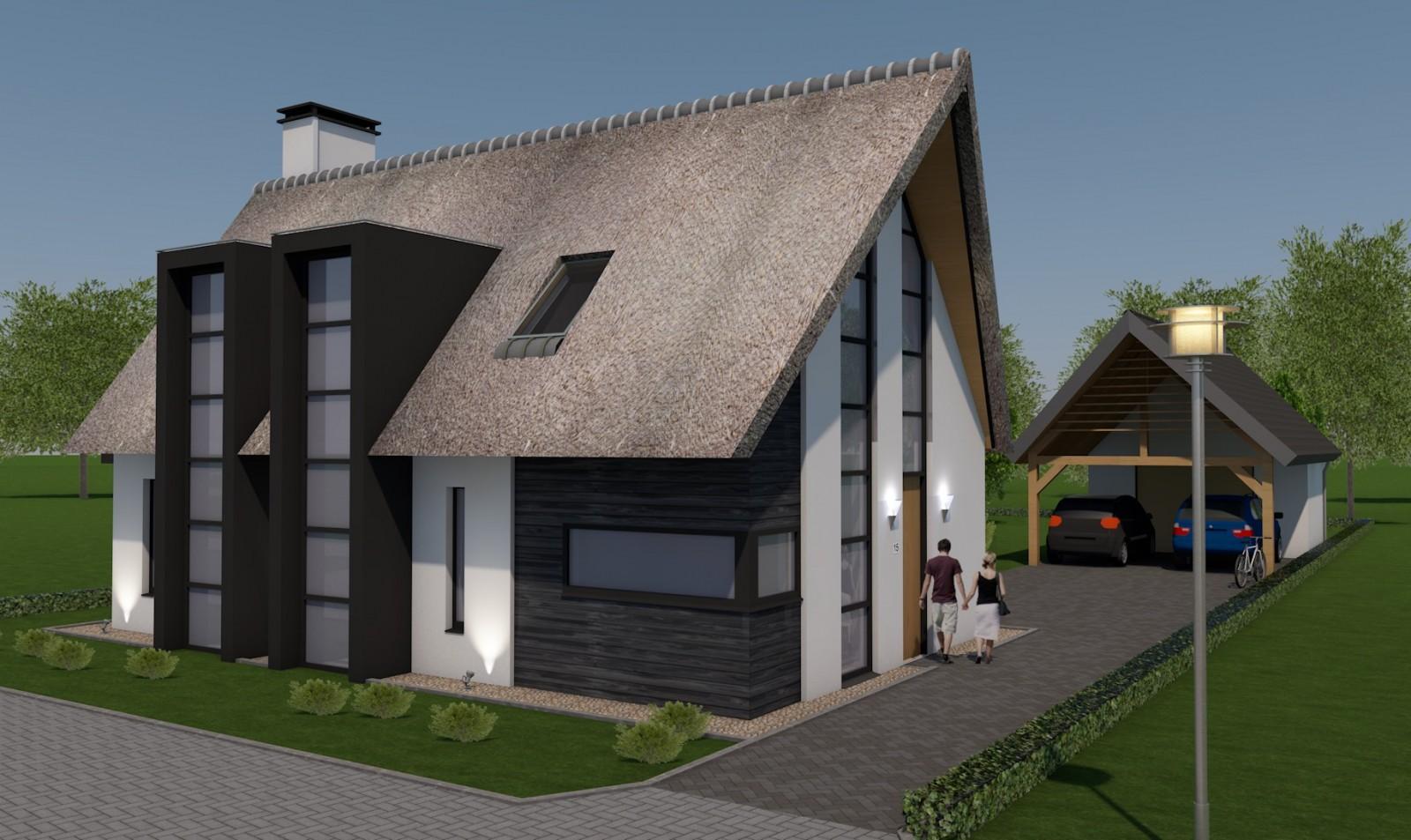 Ontwerp modern landelijke woning gehucht de wildeman te milheeze bouwkundig tekenburo donkers - Moderne uitbreiding huis ...